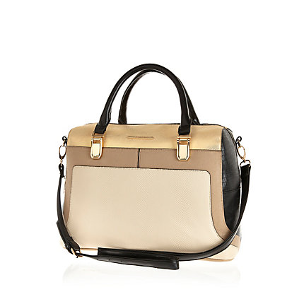 Light beige colour block bowler bag