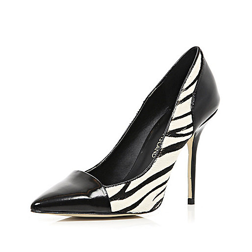 Black zebra print toe cap court shoes