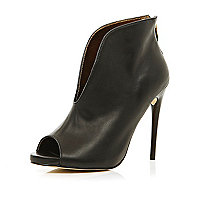 Black slit front stiletto shoe boots