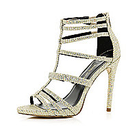 Gold glitter strappy stiletto sandals
