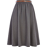 Grey flannel full midi skirt