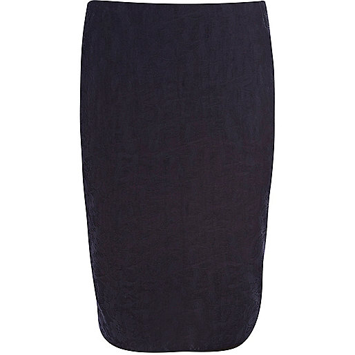 Navy bonded lace pencil skirt