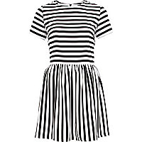 Black stripe waisted dress