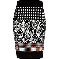 Black mixed check knitted tube skirt
