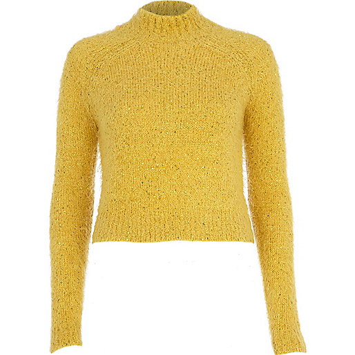 Yellow turtle neck fluffy cropped jumper