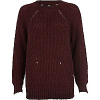 Dark red geometric rib jumper