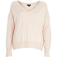 Light pink elbow patch oversized jumper
