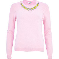 Pink angora necklace trim jumper