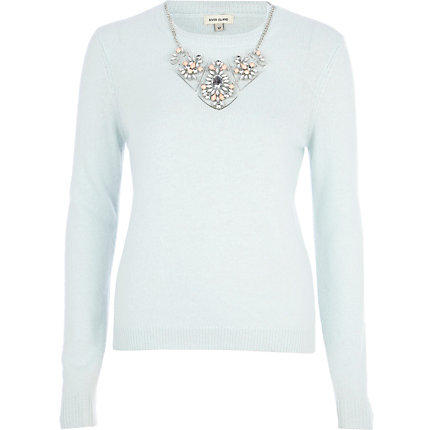light blue angora jumper
