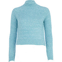 Blue turtle neck fluffy cropped jumper