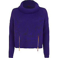 Blue roll neck cropped jumper