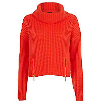 Red roll neck cropped jumper