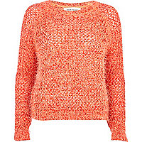 Orange eyelash cropped jumper