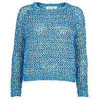Blue eyelash knit jumper