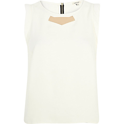 Cream metal plate sleeveless top
