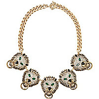 Gold tone Lion head repeat necklace