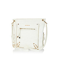 White zip trim messenger bag