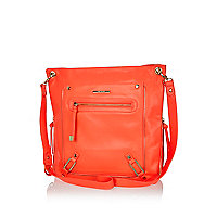 Bright coral zip trim messenger bag