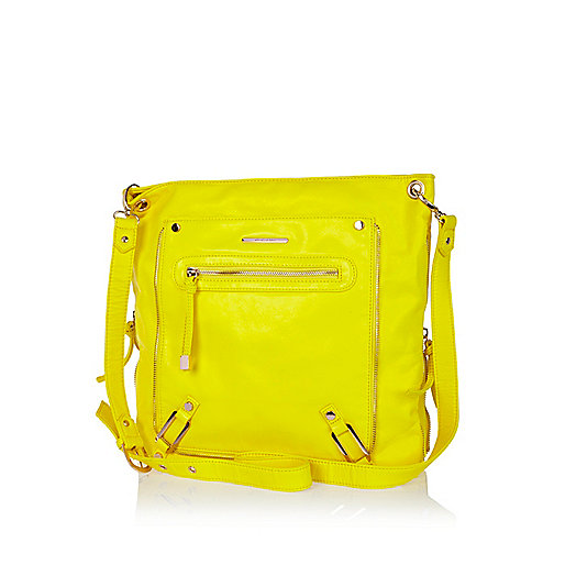 Bright yellow zip trim messenger bag