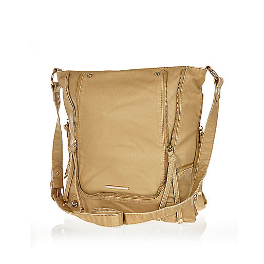 Beige zip trim messenger bag