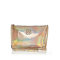 Gold holographic cross body bag