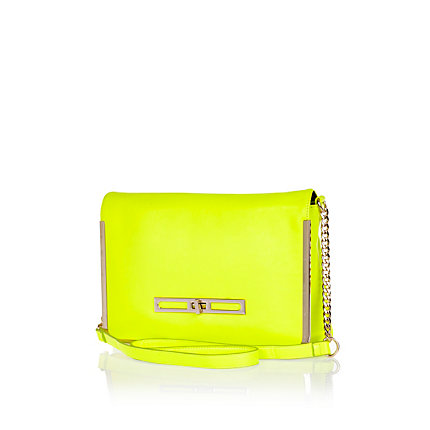 Fluro yellow metal trim cross body bag
