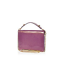 Purple high shine cross body bag