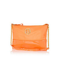 Orange patent two-tone RI cross body bag