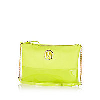 Lime patent two-tone RI cross body bag