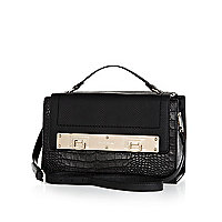 Black croc panel metal plate satchel