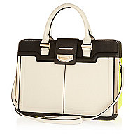 Cream metal trim structured tote bag