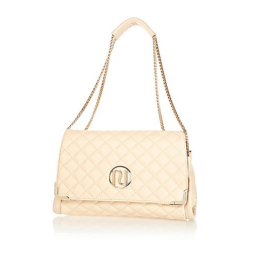 Cream quilted chain strap bag
