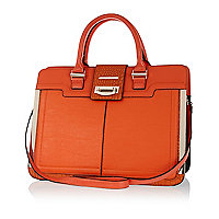Orange metal trim structured tote bag