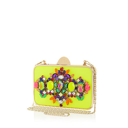 Lime gem stone box clutch bag