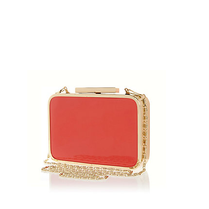 Coral patent box clutch bag
