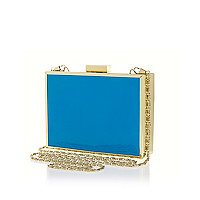Blue patent box clutch bag