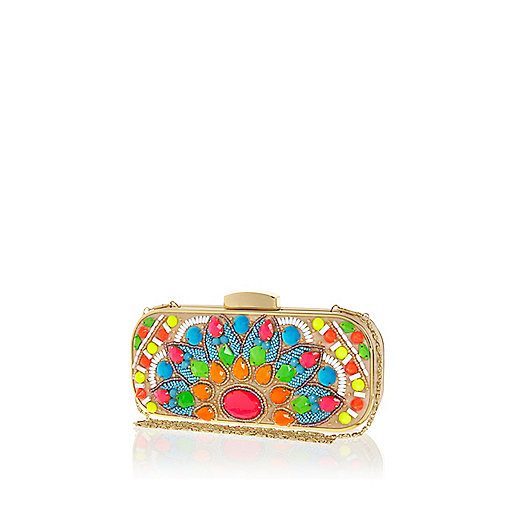 Gold tone bright gem stone box clutch bag