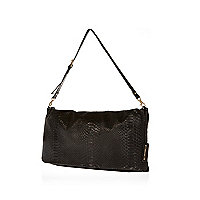Black leather snake embossed clutch bag