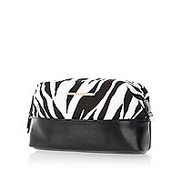 Black zebra print large make up bag