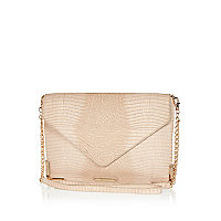 Cream snake envelope clutch bag