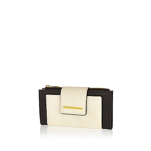 Cream colour block purse