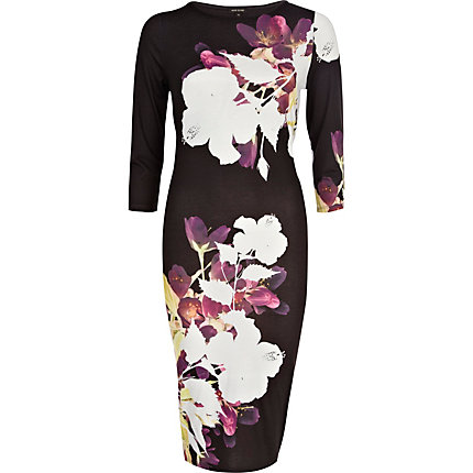 Black floral oriental print column dress