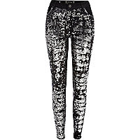 Black sequin front Amelie superskinny jeans