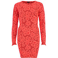 Coral jacquard bodycon dress