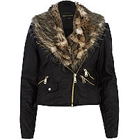 Black faux fur shawl collar biker jacket