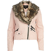 Light pink faux fur shawl collar biker jacket
