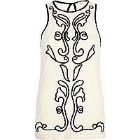Cream lace pattern tunic top