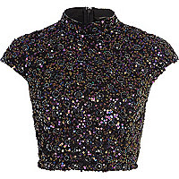Navy sequin embellished crop top