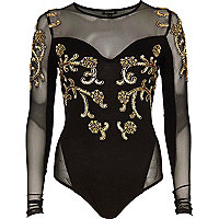 Black embellished mesh panel body