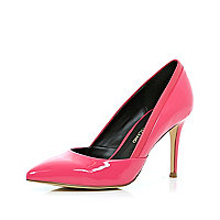 Bright pink patent mid heel court shoes